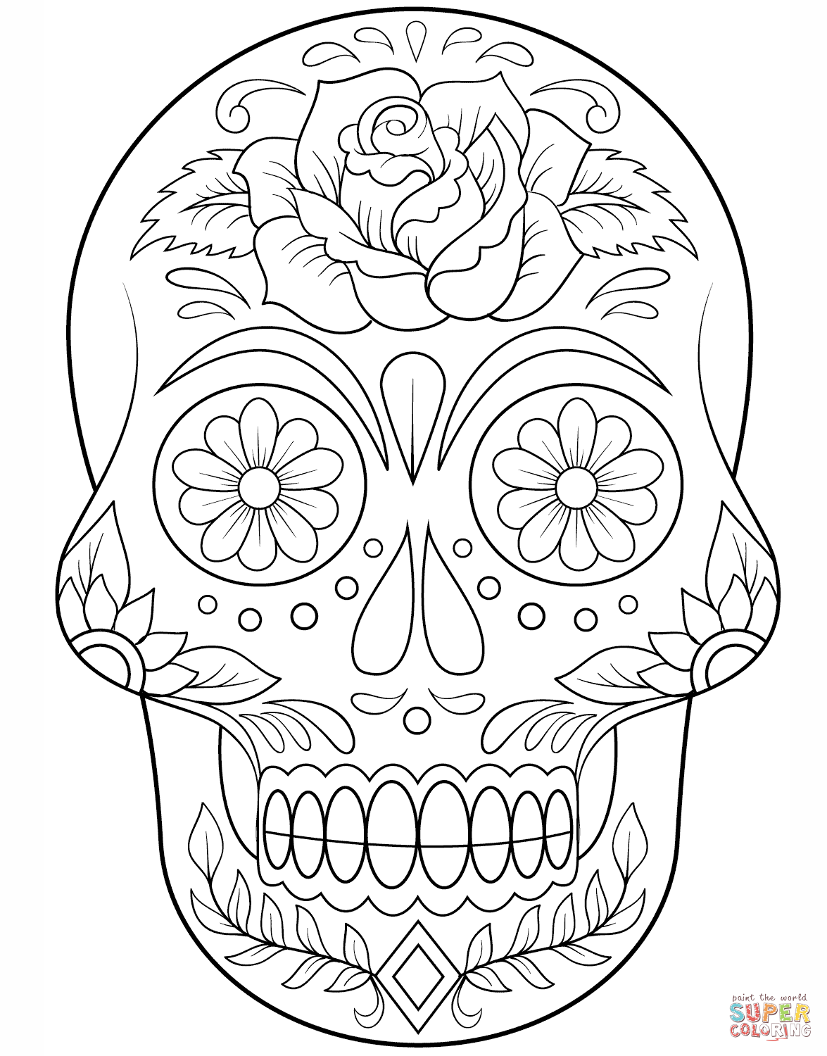 Sugar Skull With Roses Coloring Pages - Coloring Home