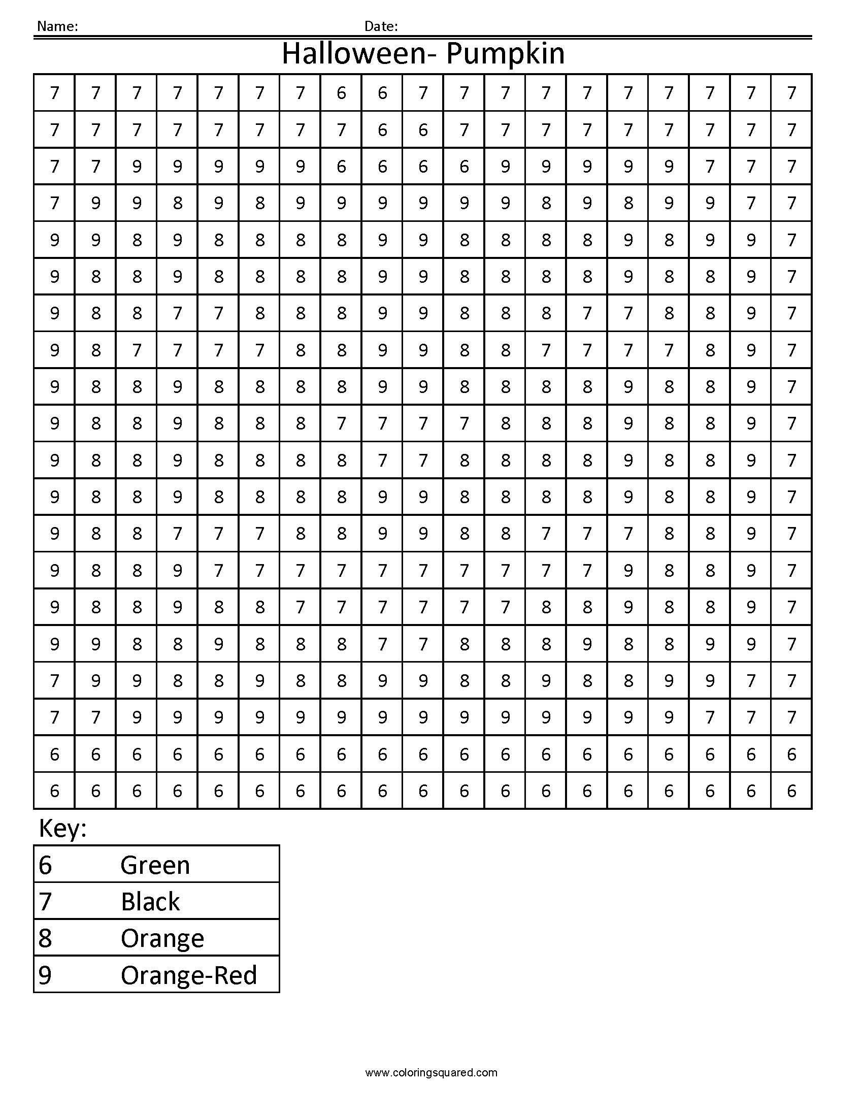 math worksheet : color by number math worksheets for kindergarten  number color  : Pumpkin Math Worksheets