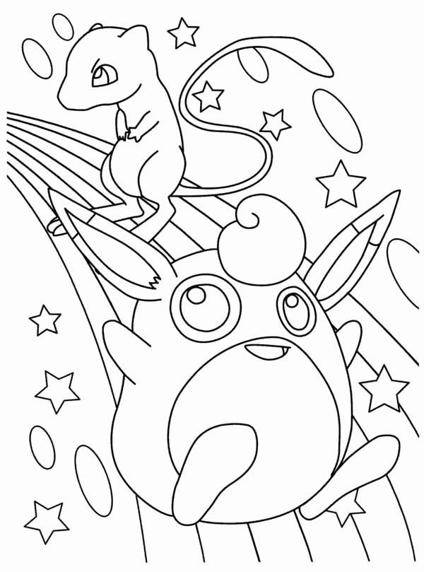 Wigglytuff And Mew Legendary Pokemon Coloring Page - Free ...