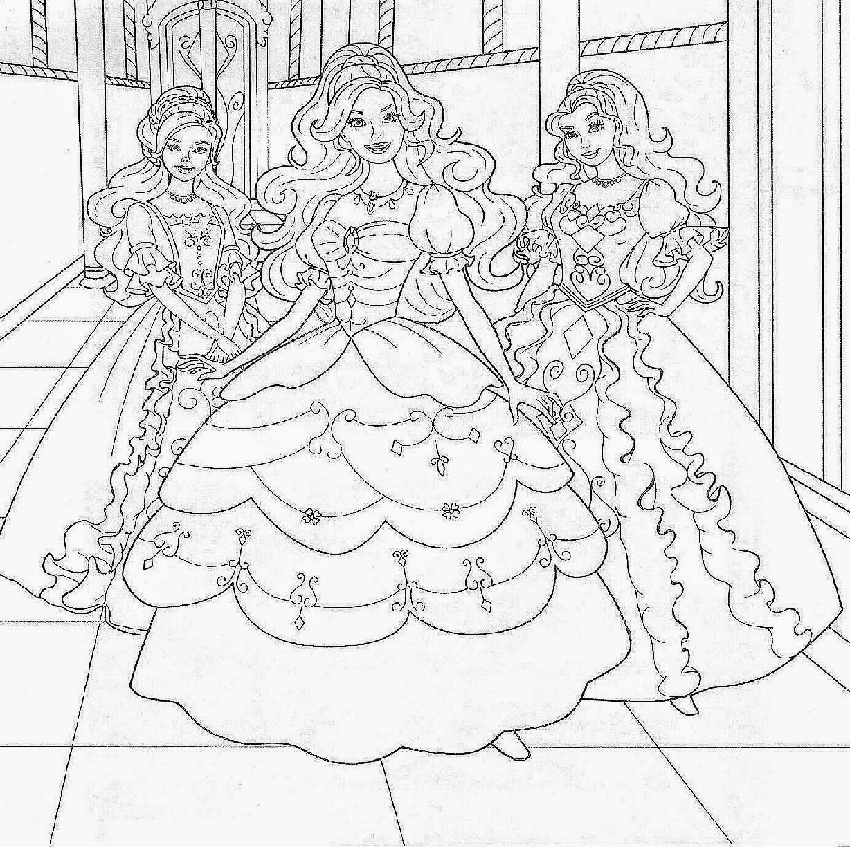 Free Coloring Pages Of Barbie Princesses - Coloring Home