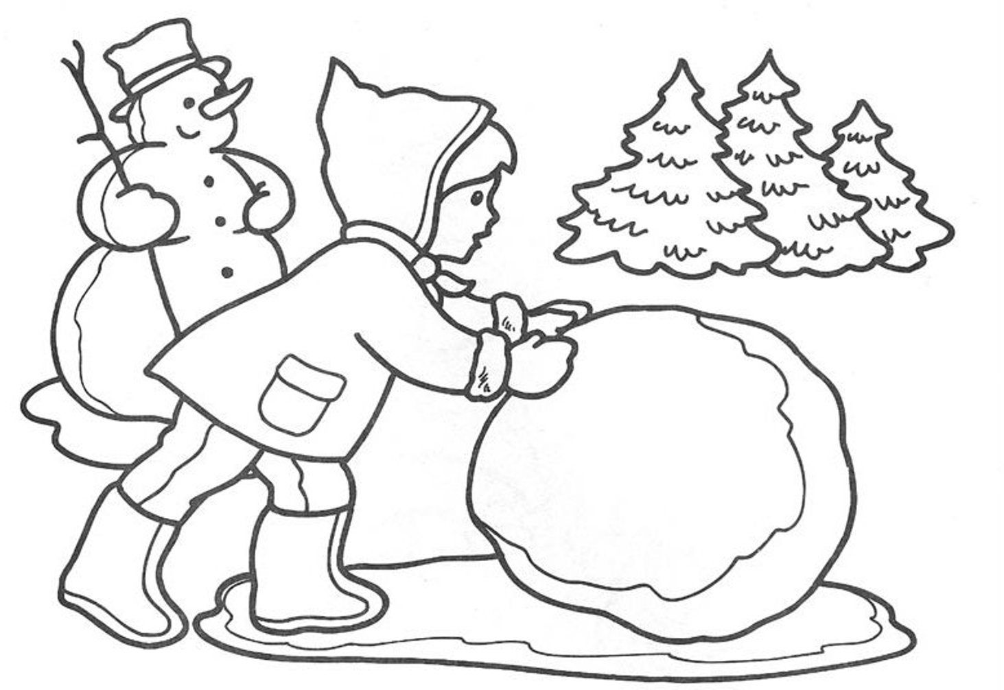 Winter Snow Coloring Pages : Winter Coloring Page Kids Making ...