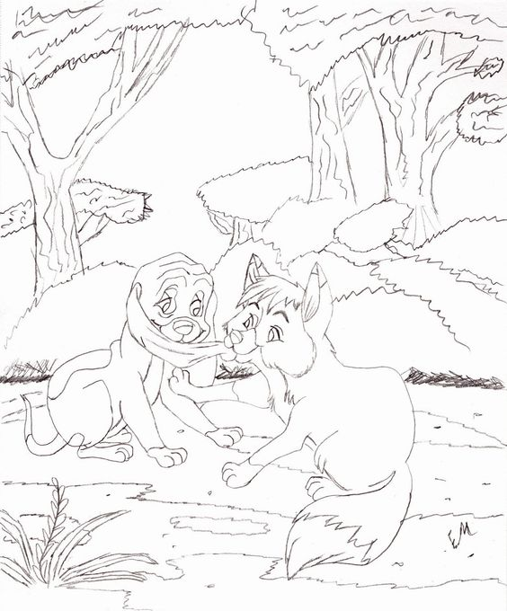 fox and hound coloring pages - photo#26