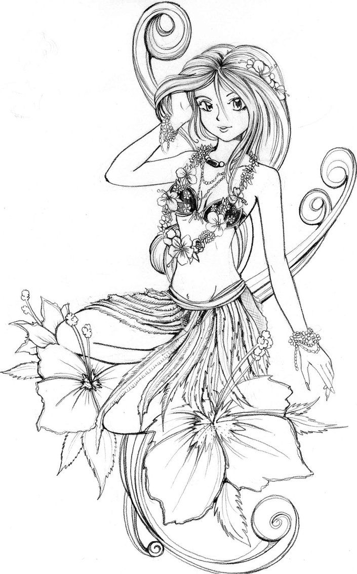 Free coloring pages for girls flowers - Hawaiian Coloring Pages For Kids And For Adults