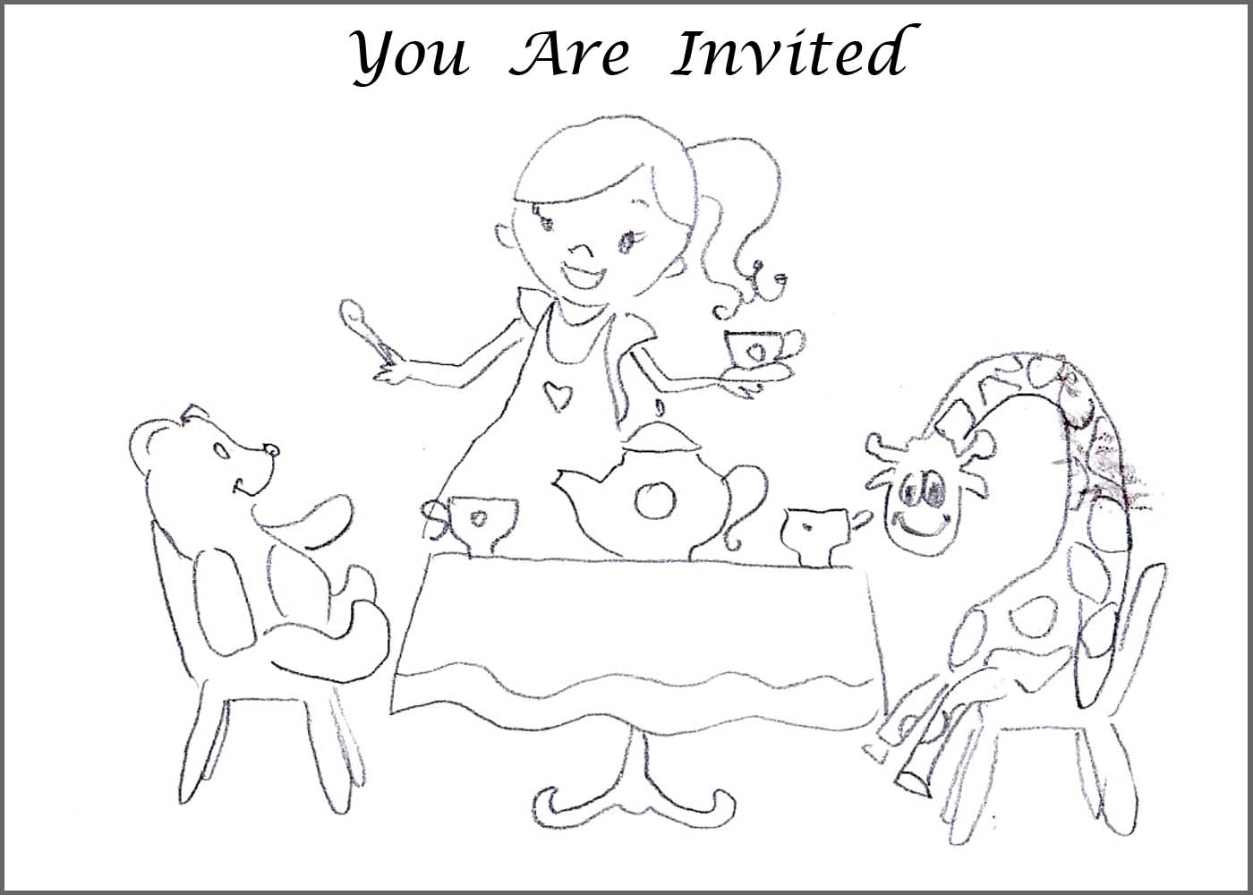 Tea party coloring pages free coloring home for Tea party coloring page
