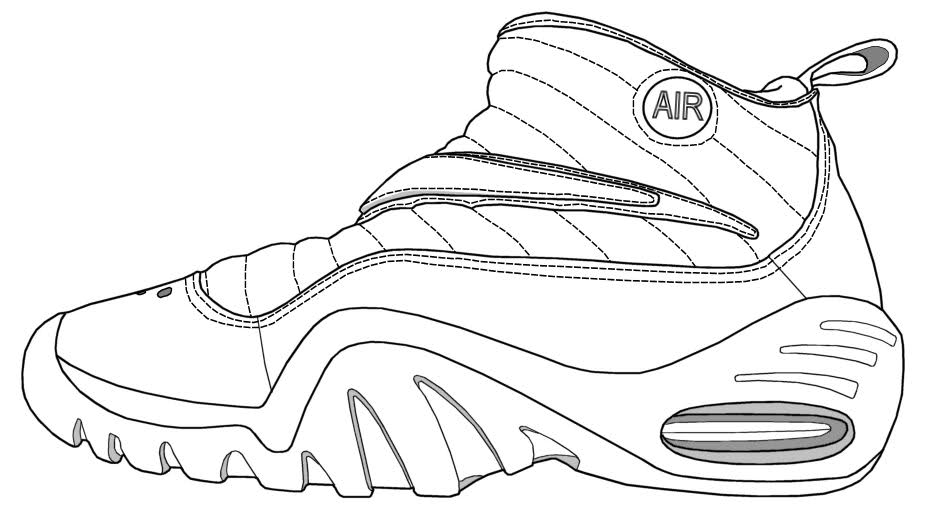 printable tennis shoe coloring pages - photo#27