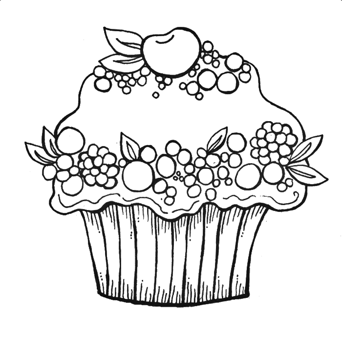 Colouring Pages For Cupcakes : Cupcakes Coloring Page - Coloring Home