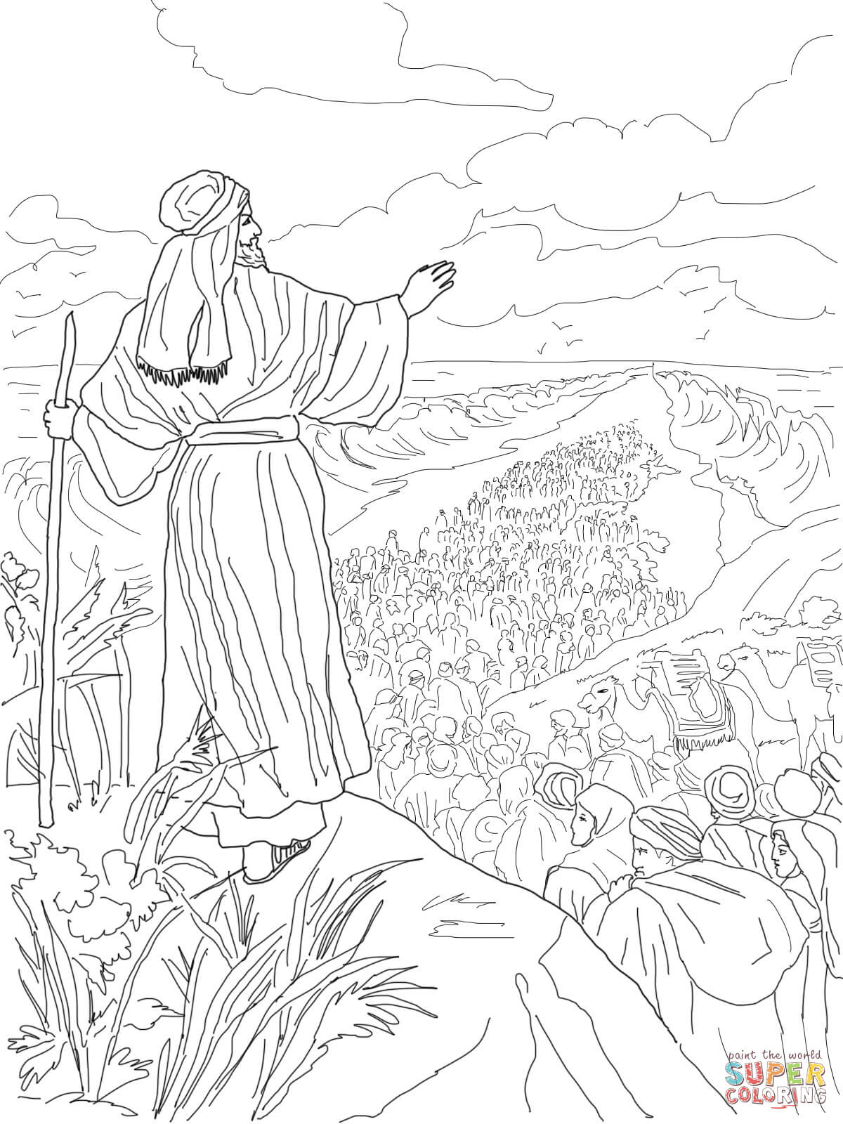israelites crossing the red sea coloring page coloring home