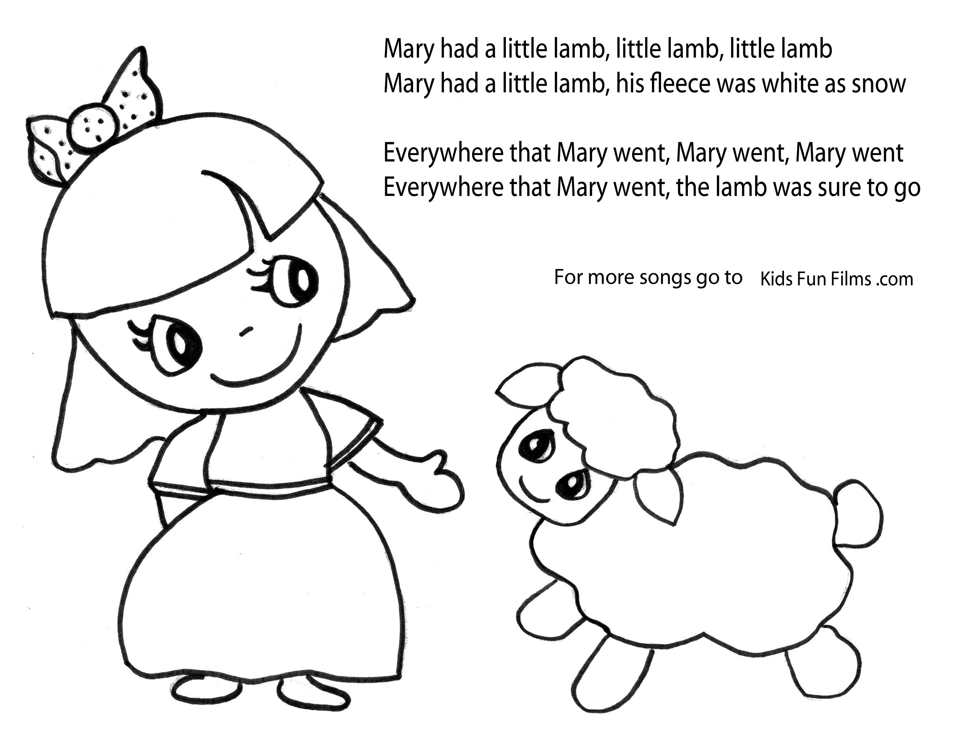 coloring page sheets mary had a popular store kids fun films
