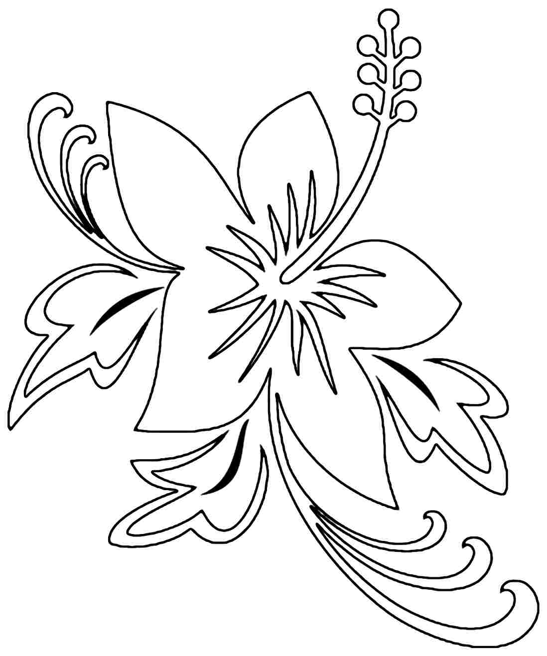 8 Best Images of Free Printable Hibiscus - Hibiscus Flower Outline ...