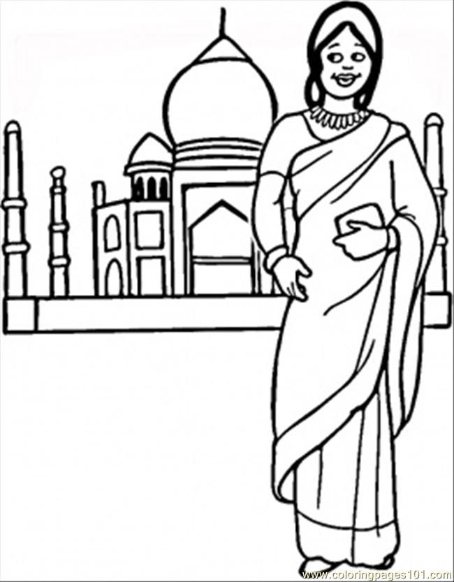 Indian Woman Coloring Pages AttireWomanPrintable Coloring Pages