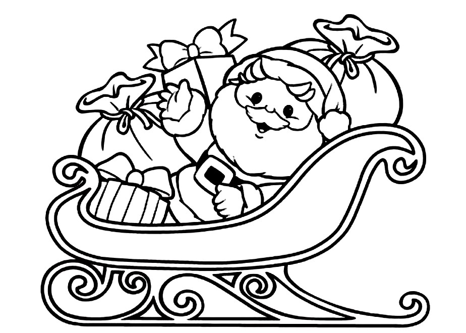 Santa Sleigh Coloring Pages - AZ Coloring Pages