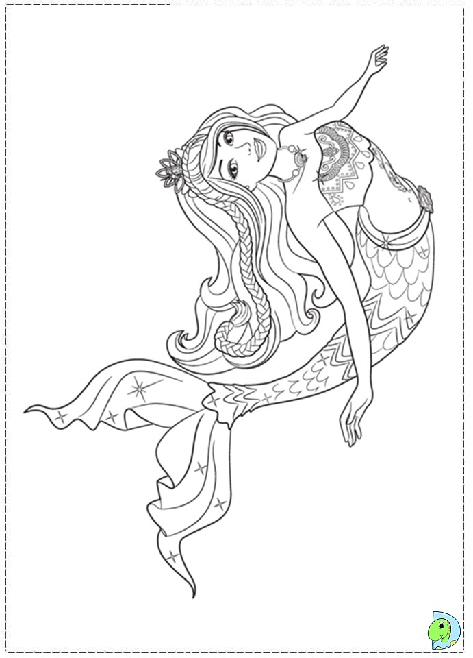 Barbie mermaid coloring pages printable