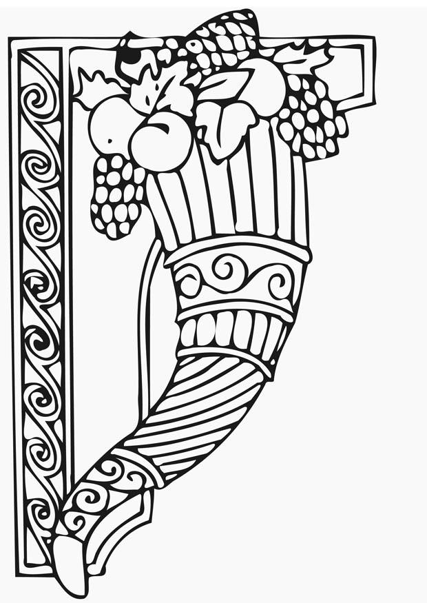 Coloring page Thanksgiving cornucopia - img 12823.