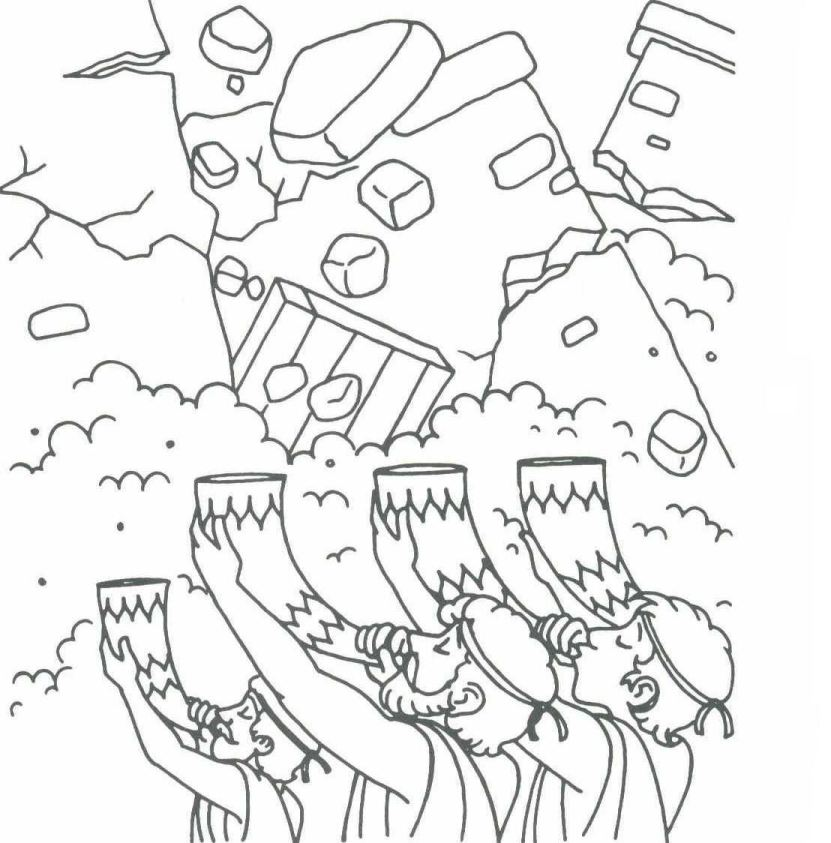 Joshua And The Wall Of Jericho Coloring Pages Coloring Home