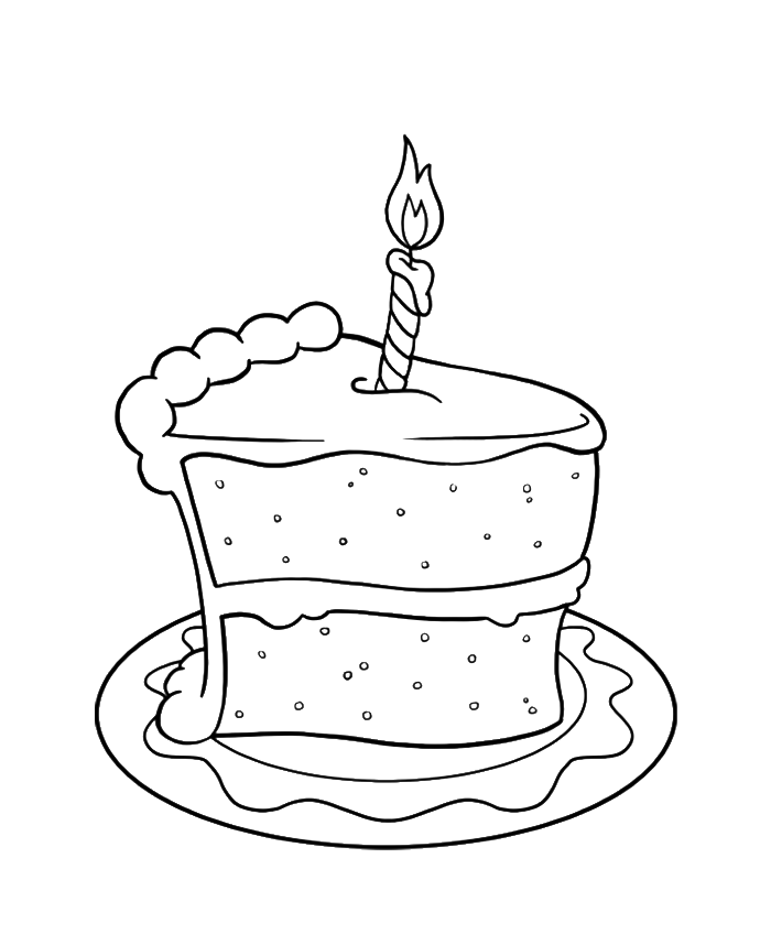 Slice Of Cake Birthday Coloring Pages - Cookie Coloring Pages