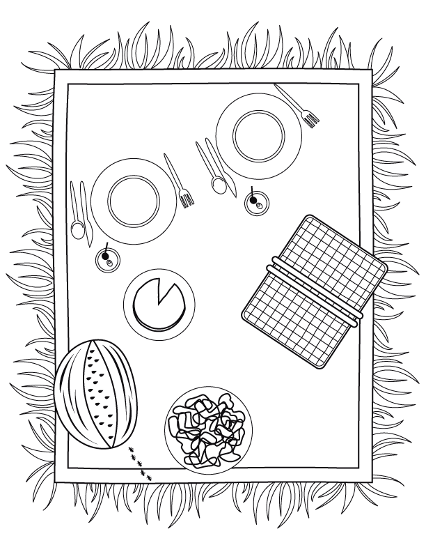 gallery for picnic basket coloring page picnic food coloring pages