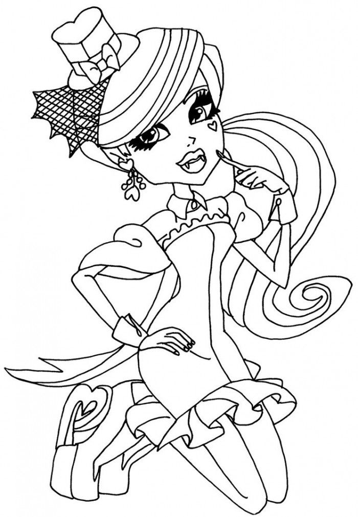 Monster High Doll Coloring Page For Kids