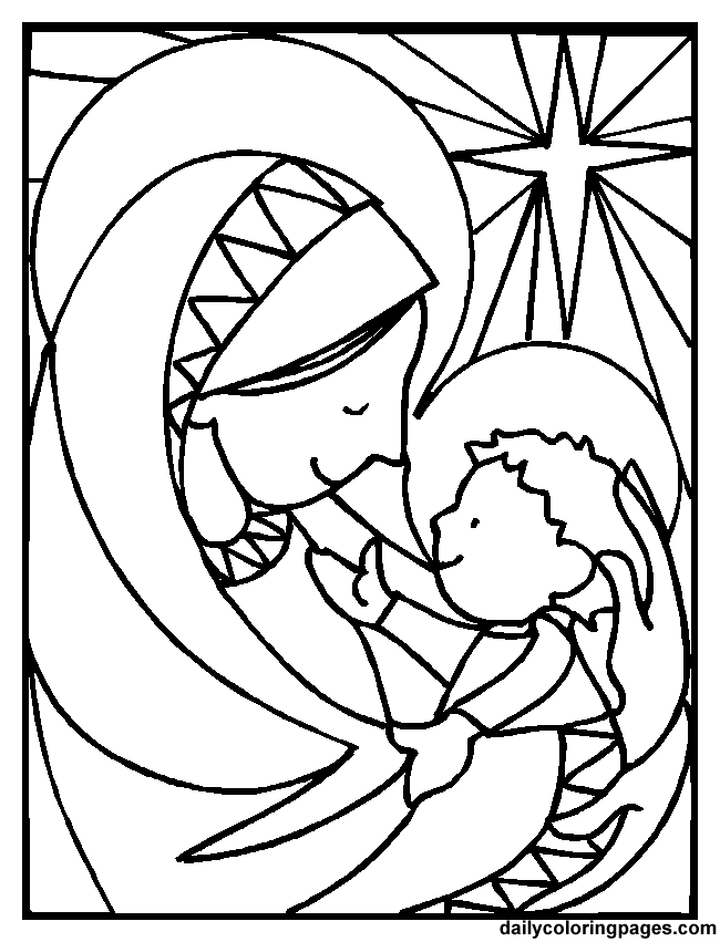 Jesus Nativity Coloring Pages Mary And Baby