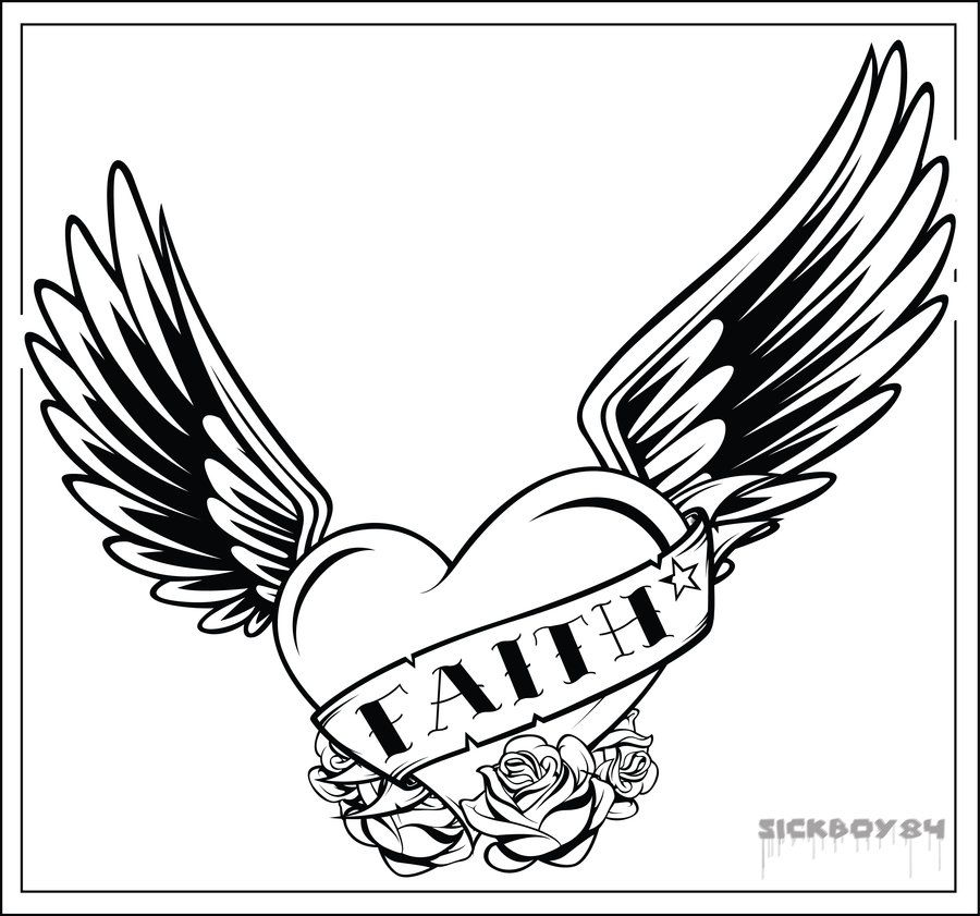 coloring pages of hearts with wings coloring home. Black Bedroom Furniture Sets. Home Design Ideas