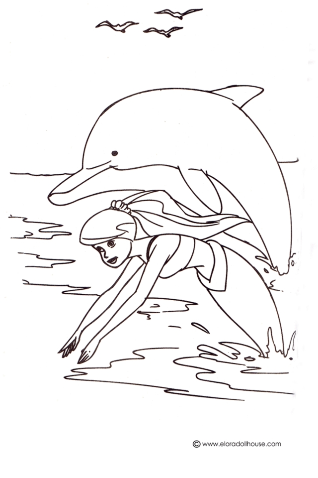 mermaid and dolphin coloring pages - photo#6