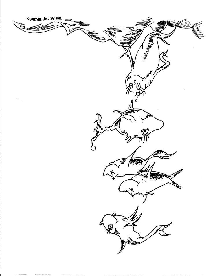 Dr Seuss Coloring Pages One Fish Two Fish  Coloring Home