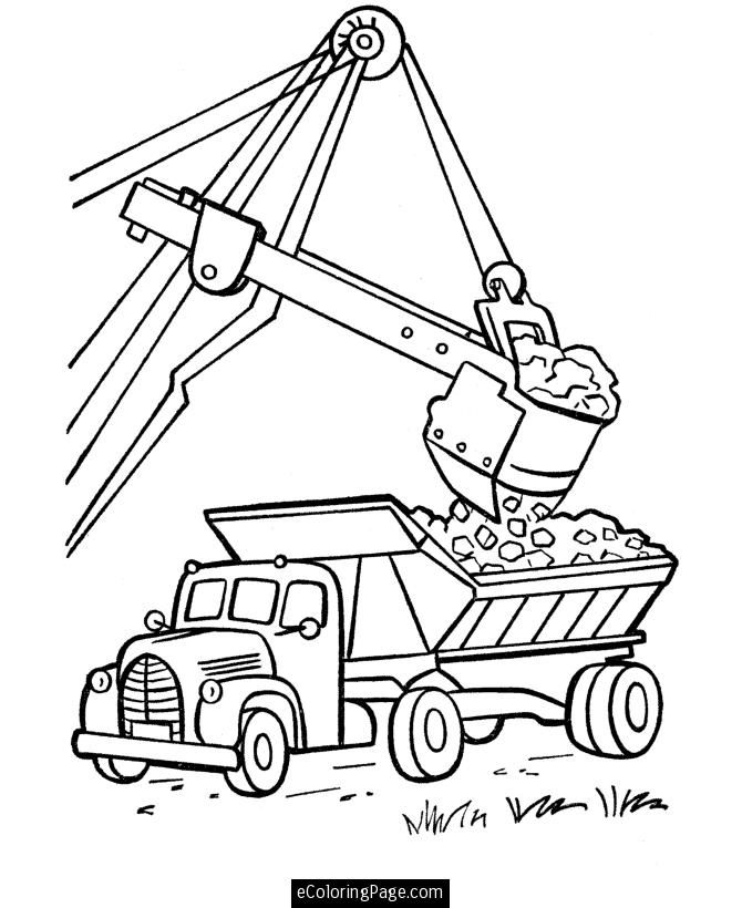 Excavator and Dump Truck Printable Coloring Page | eColoringPage