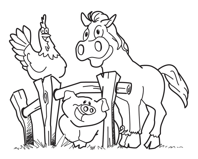 Animal coloring book coloring home for Barn animals coloring pages