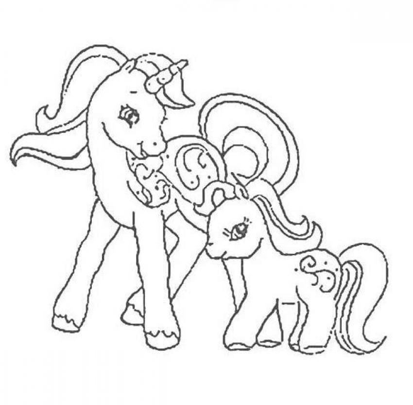 MY LITTLE PONY coloring pages - Mother and her baby pony