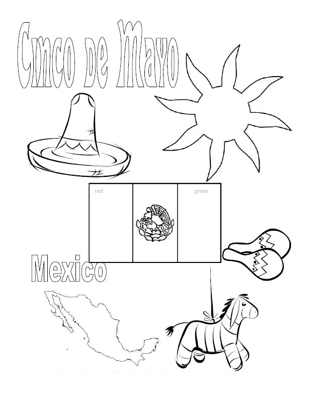 Mexican Flag Color Page AZ Coloring Pages
