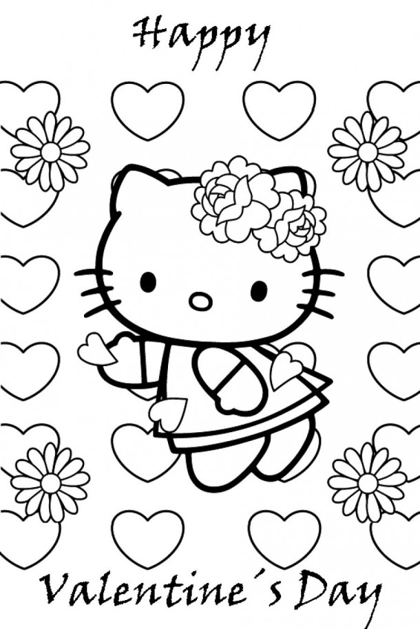 Coloring Pages For Valentines Day Hello Kitty : Hello kitty valentines day coloring pages az