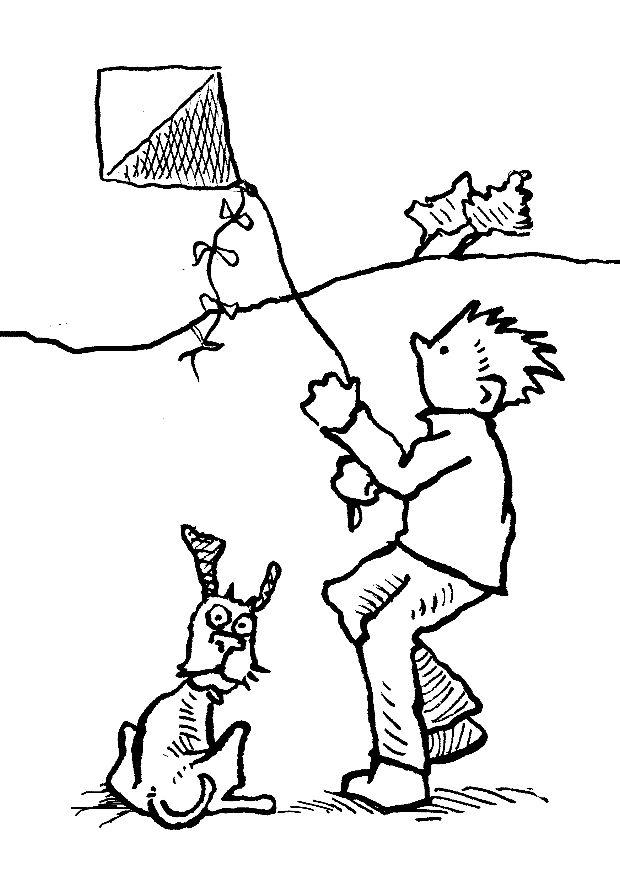 Boy Play Kite On The Windy Day Coloring Pages : New Coloring Pages