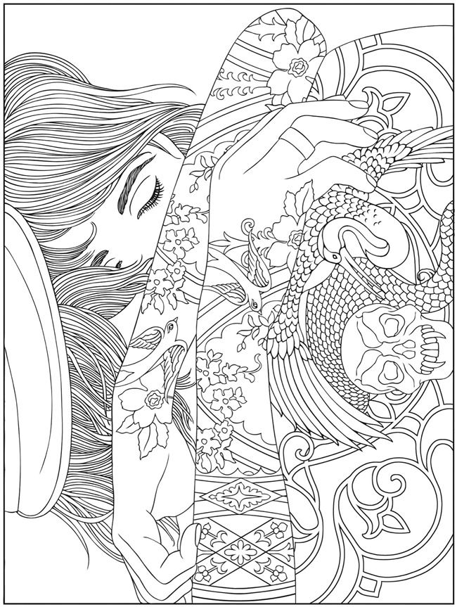 girl difficult coloring pages - photo#11
