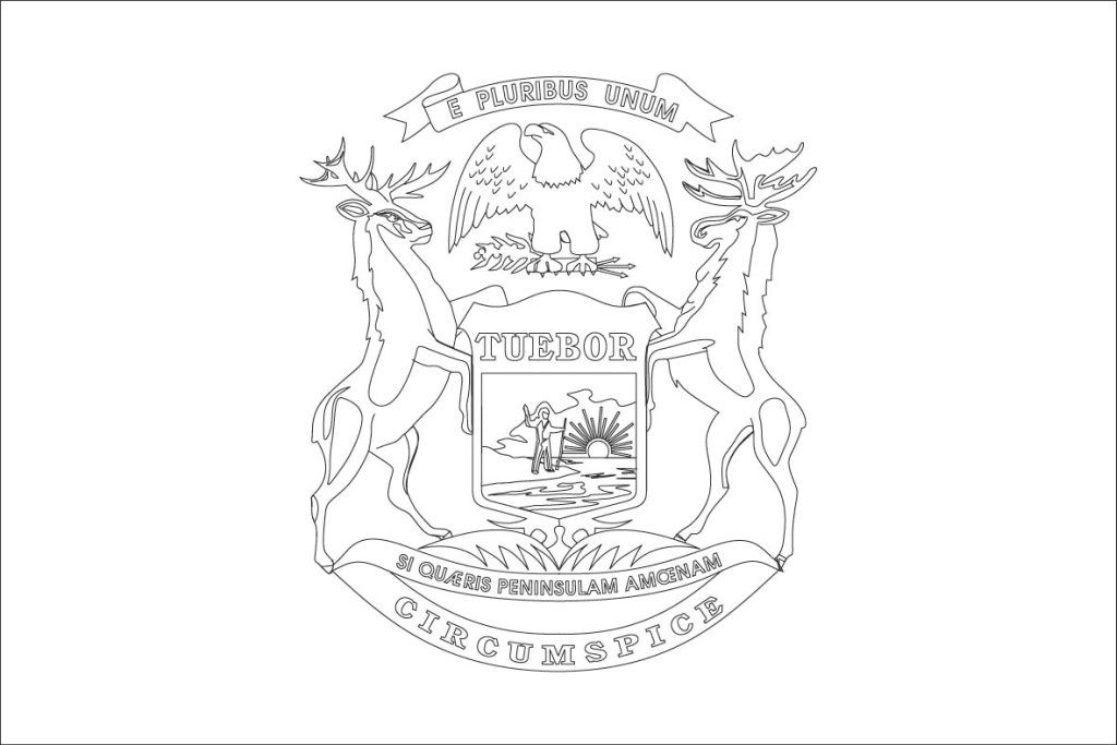 Michigan State Flag Coloring Page Coloring Home Michigan State Flag Coloring Page