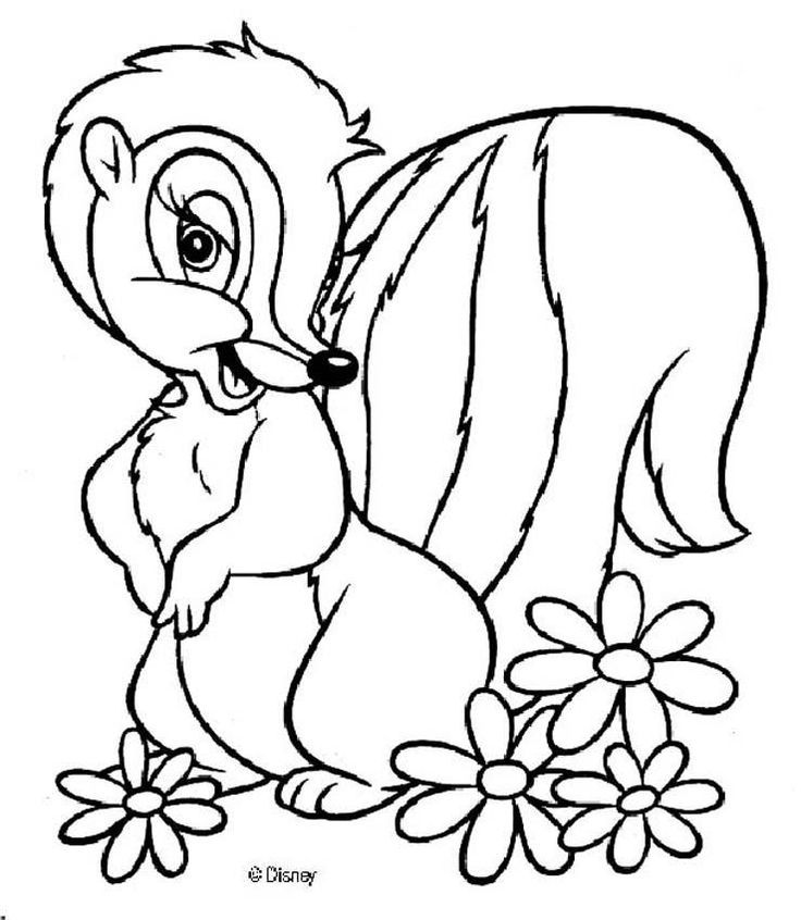 Bambi Coloring Page Flower The Skunk