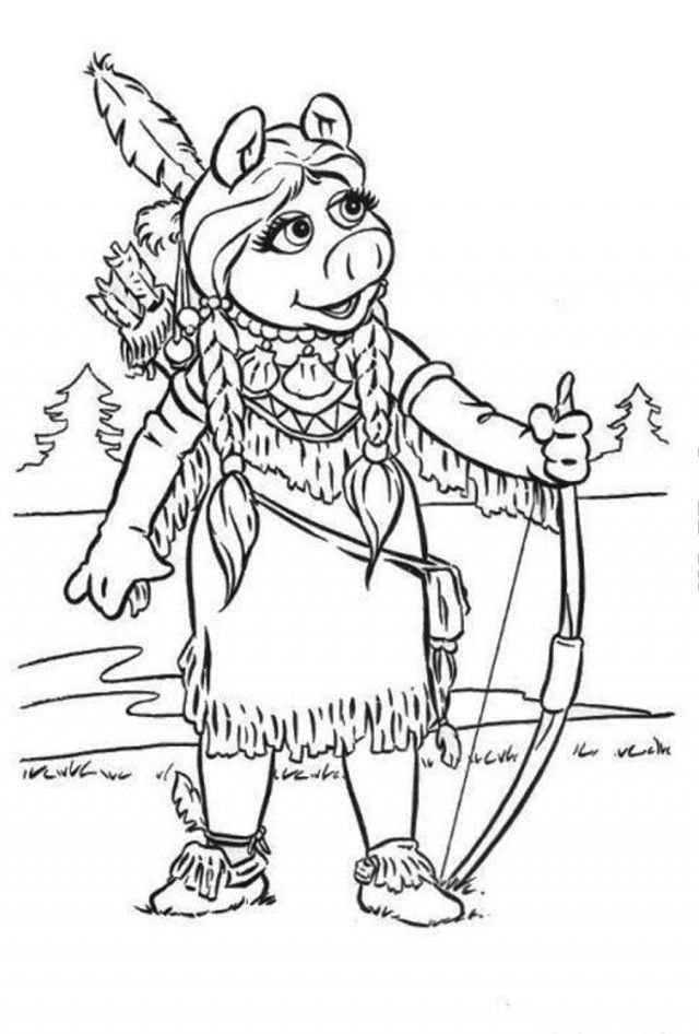 Muppets Indian Piggy Coloring Page Coloringplus 3194 Muppet