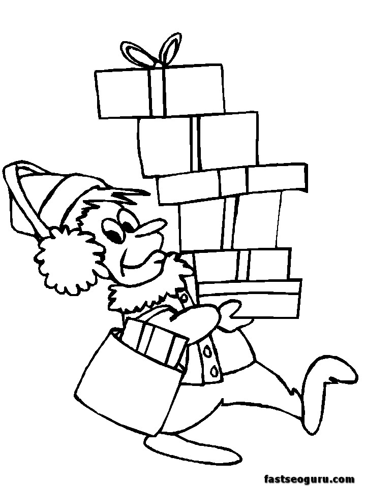 Elf Coloring Pages Pdf : Cartoon christmas elf az coloring pages