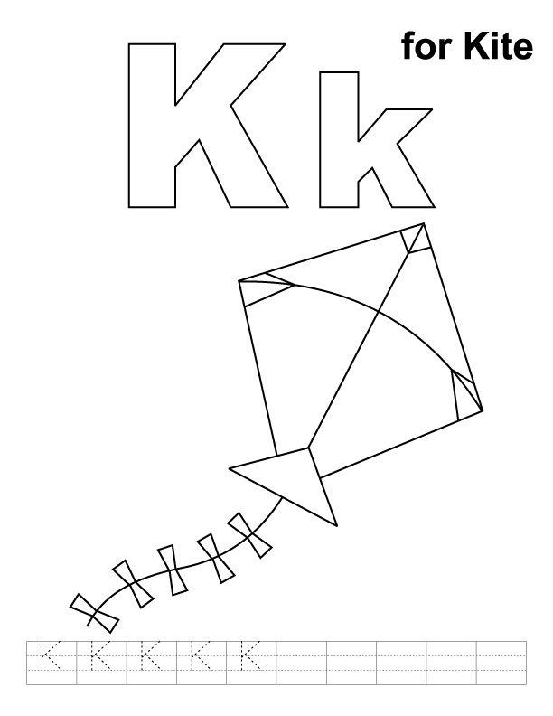 K for kite coloring page with handwriting practice | Download Free