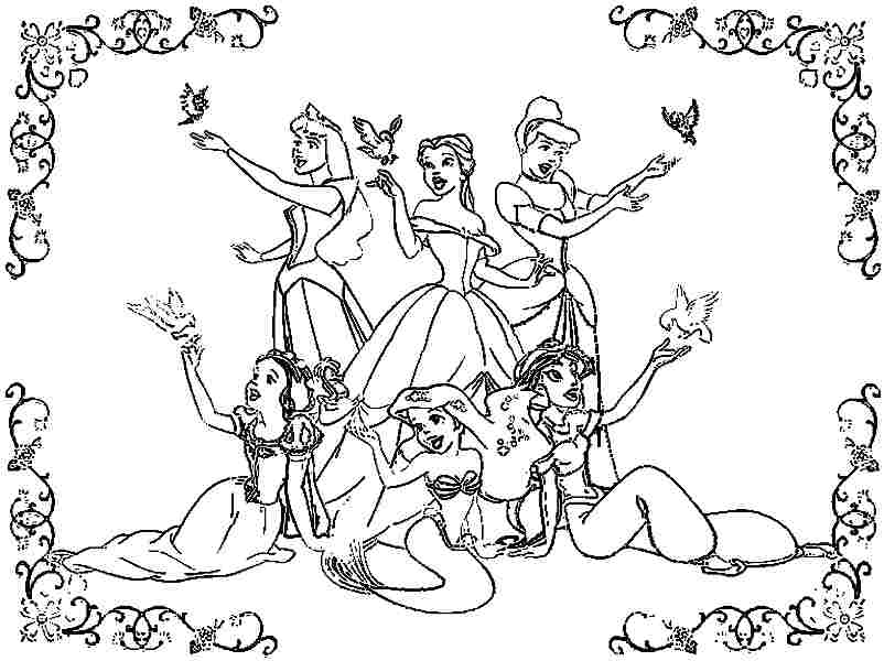 Disney Princesses Coloring Pages Coloring Home