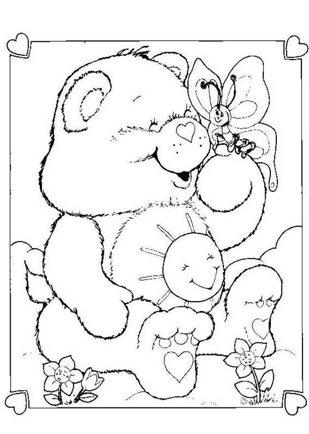 CARE BEARS coloring pages - Funshine Bear with a butterfly
