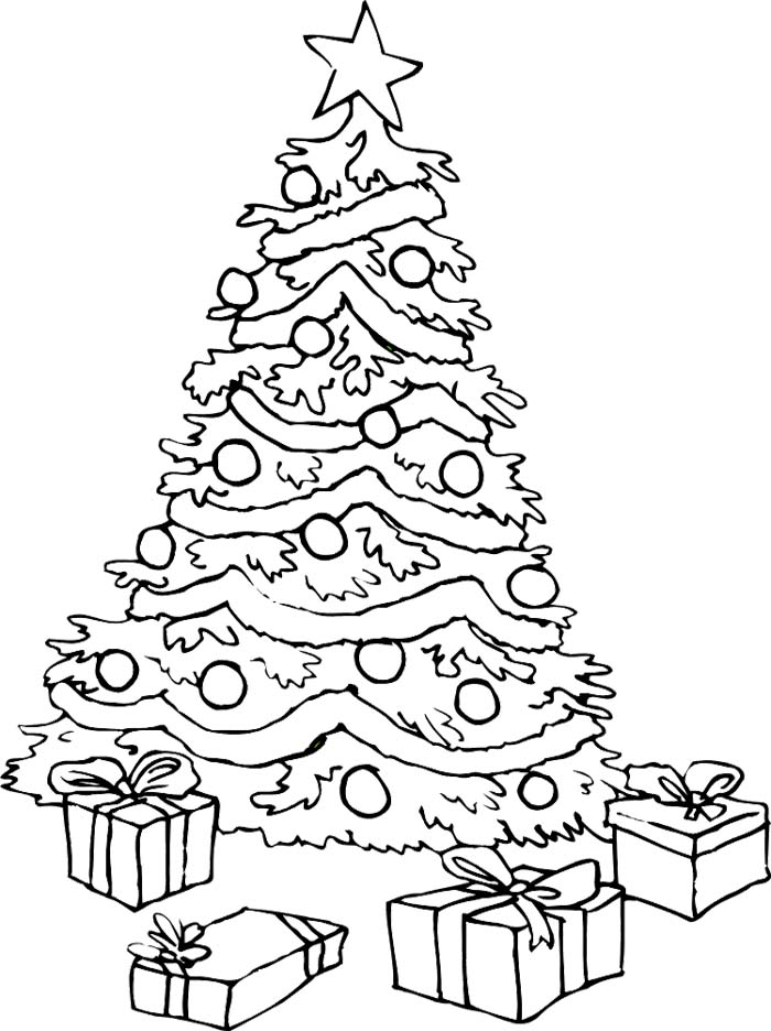 Christmas tree coloring pages az coloring pages for Coloring pages of christmas presents