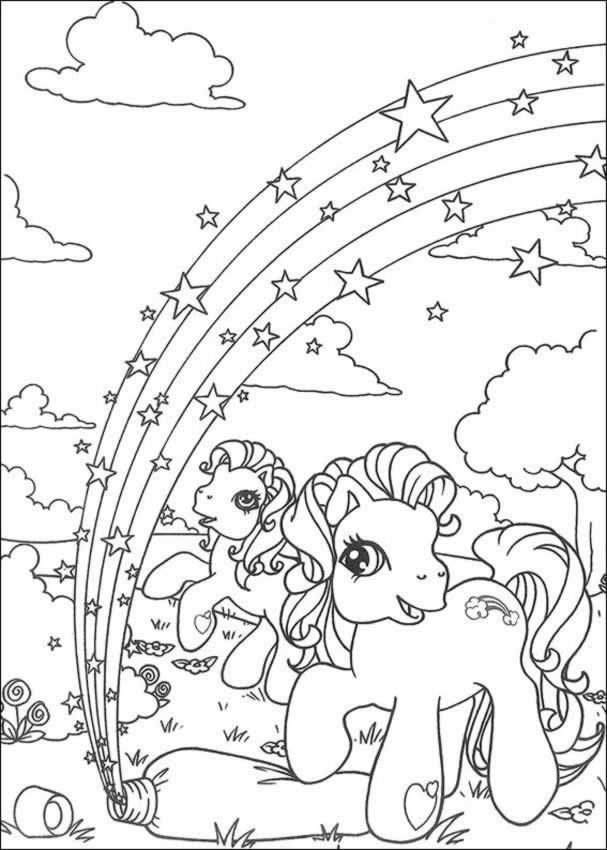 MY LITTLE PONY coloring pages - Rainbow in ponyland