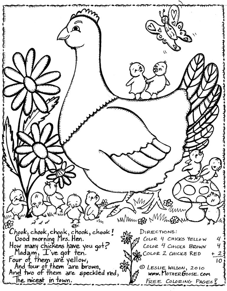 Mother Goose Nursery Rhyme Coloring Pages