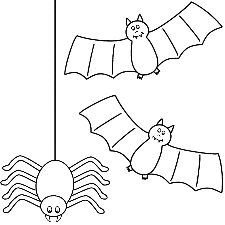 Bats with a spider - Coloring Page (Halloween)