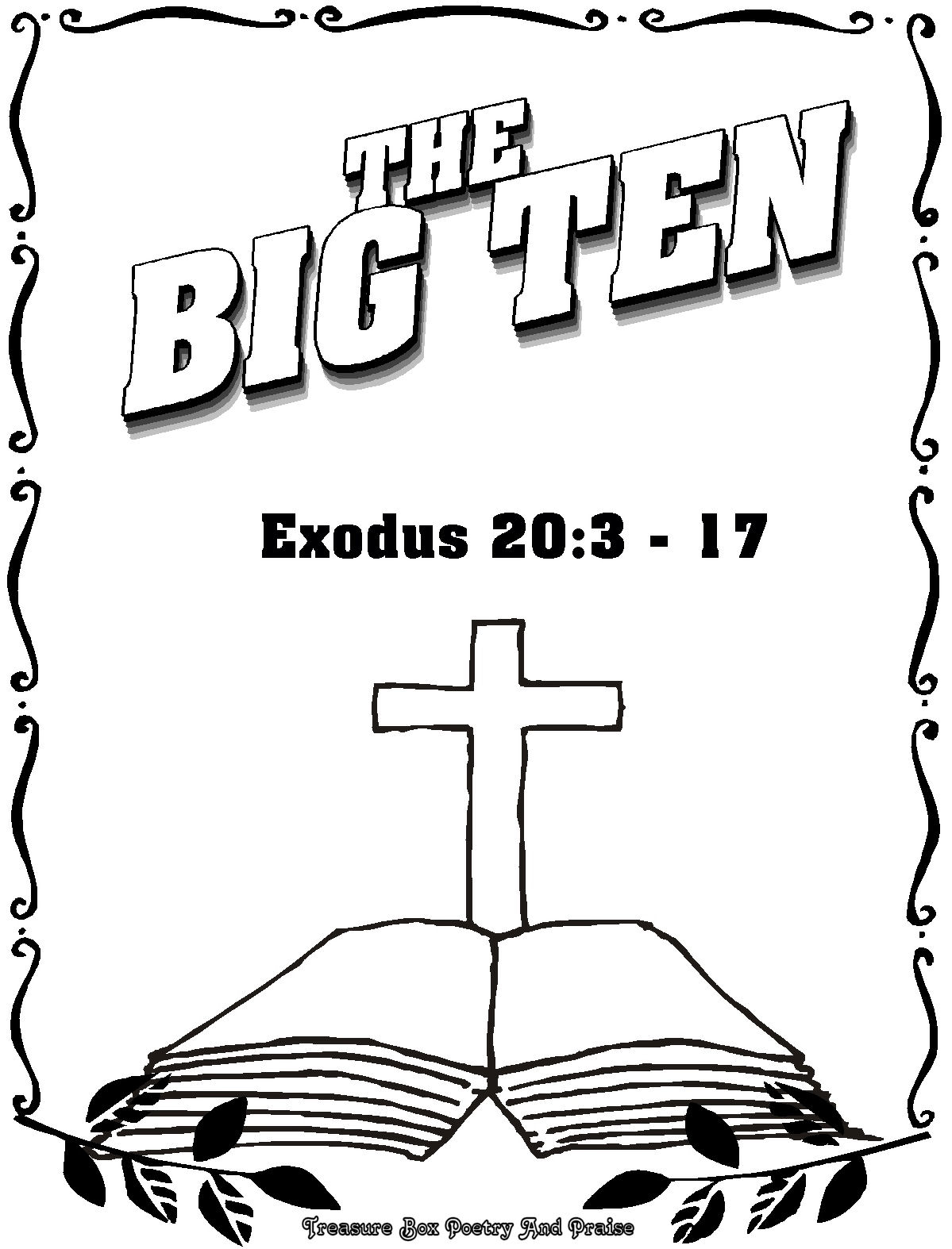 Coloring pages moses and ten commandments - Childrens Gems In My Treasure Box The Big Ten Coloring Book Download Print Moses Receives Ten Commandments