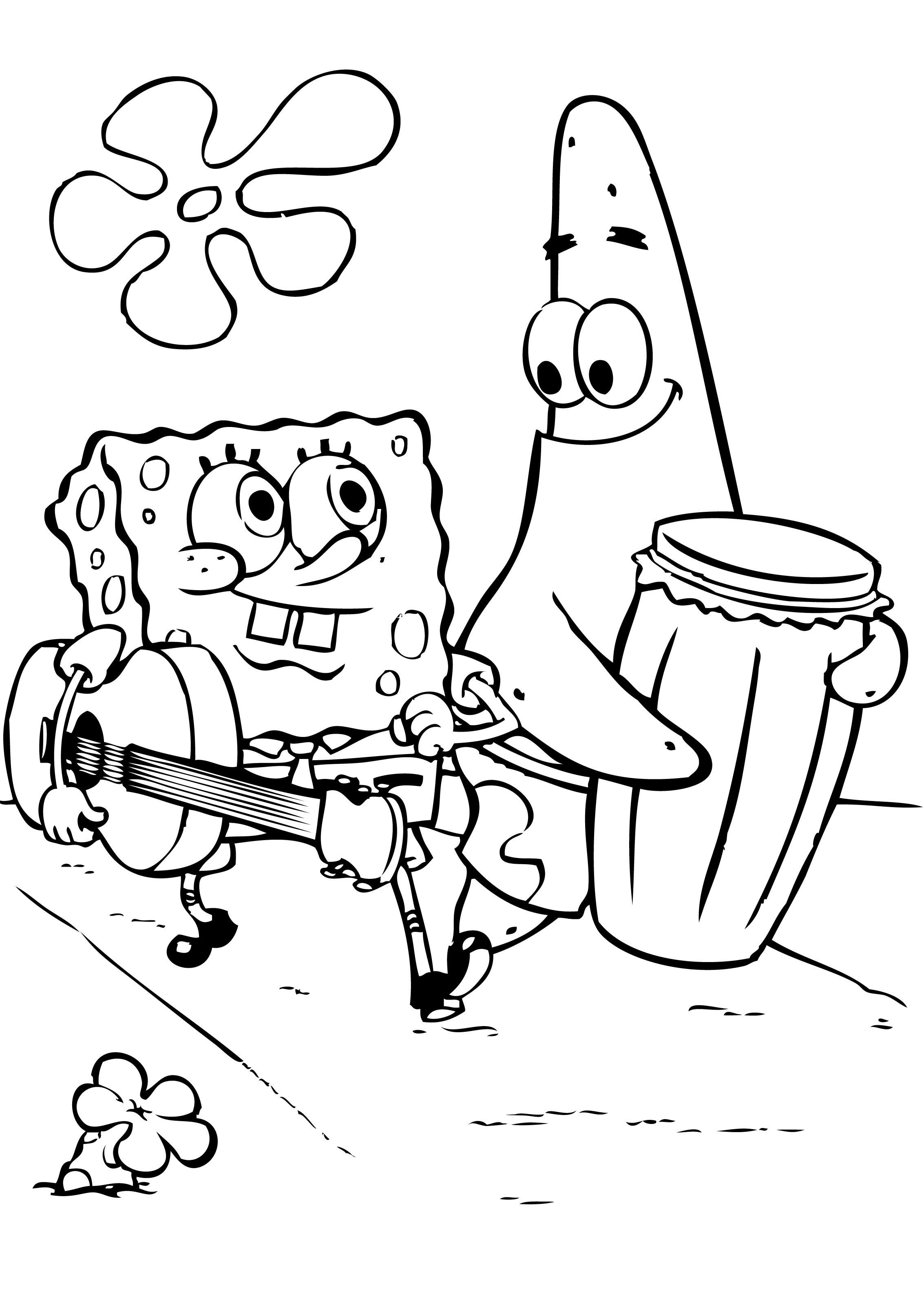 Coloring pages to print spongebob - Spongebob And Patrick Coloring Pages To Print Coloring Kids