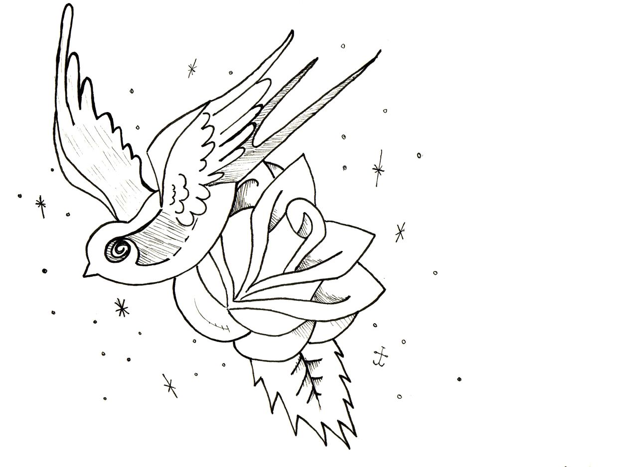 Rose flower coloring pages printable - Rose Flower And Bird Coloring Page Rose Flowers Coloring Pages
