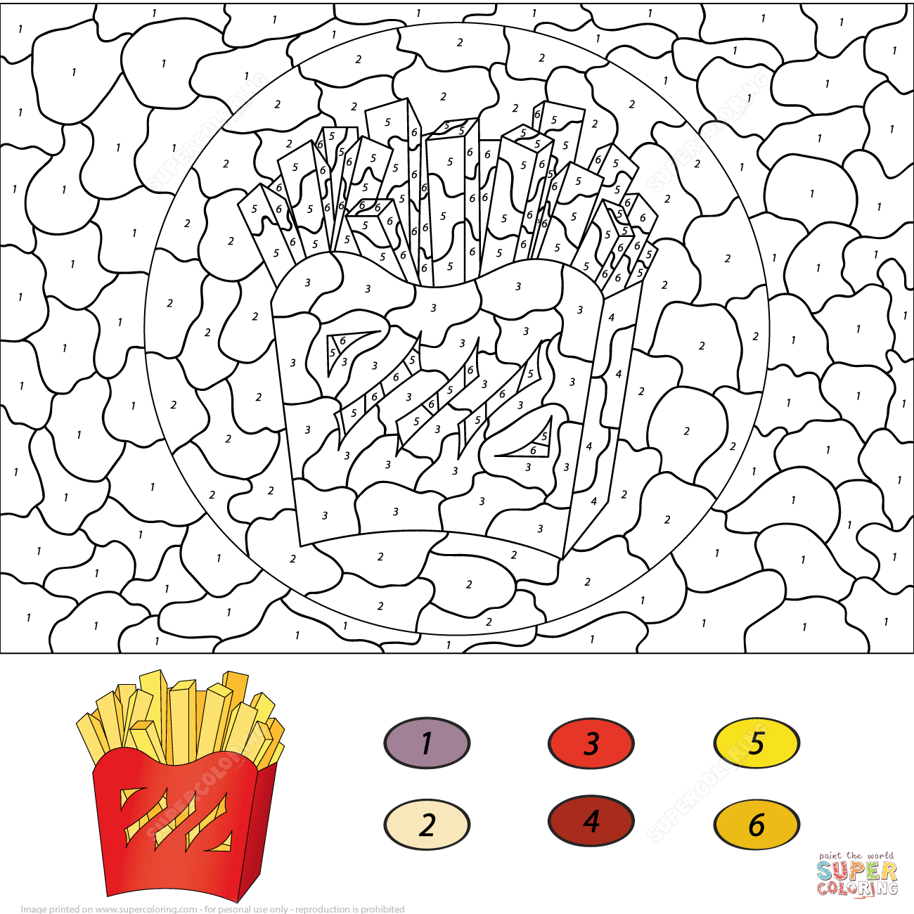 mashed potatoes. french fries color by number coloring page free ...