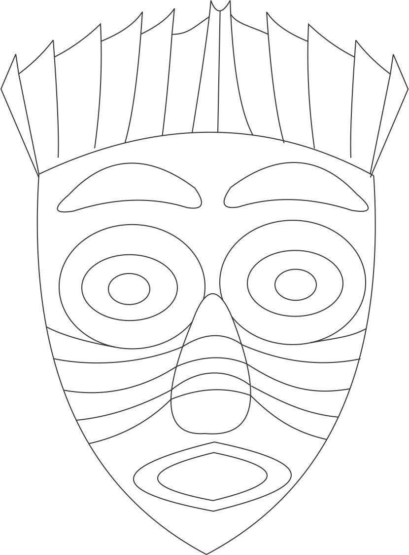 African Mask Coloring Page Home MTLGGdGRc Native American Eagle