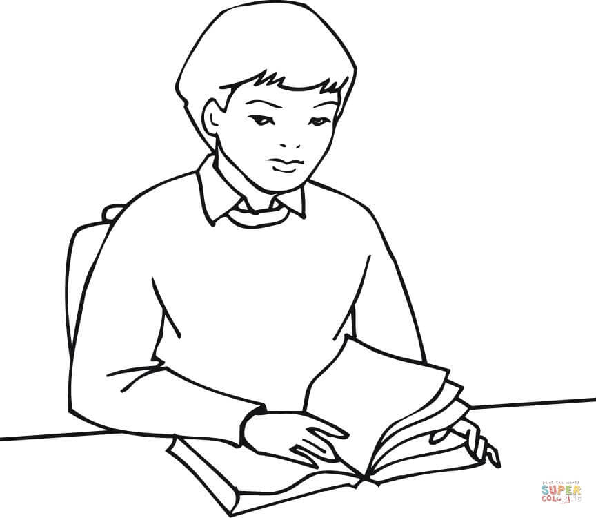 A Boy Student Reading Book Coloring Page