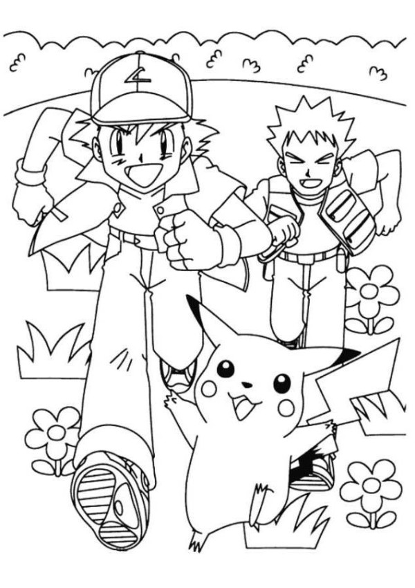 ash misty coloring pages - photo#12